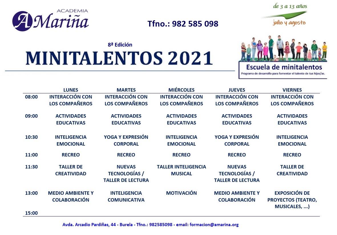 horario minitalentos 2021