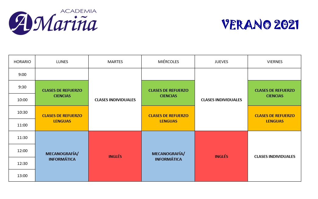 HORARIO CLASES 2021